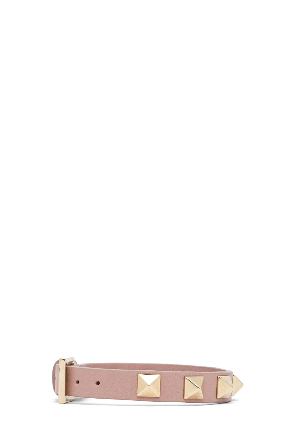 Image 2 of Valentino Small Rockstud Calfskin Bracelet in Poudre