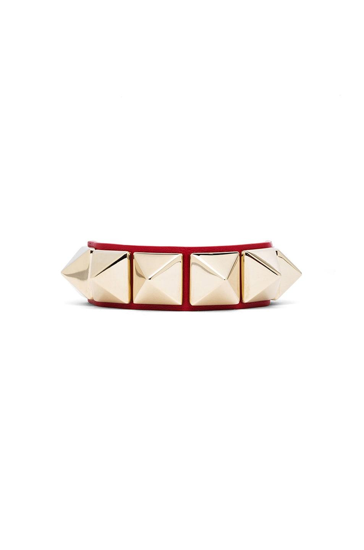 Valentino Medium Rockstud Calfskin Bracelet in Red,Metallics