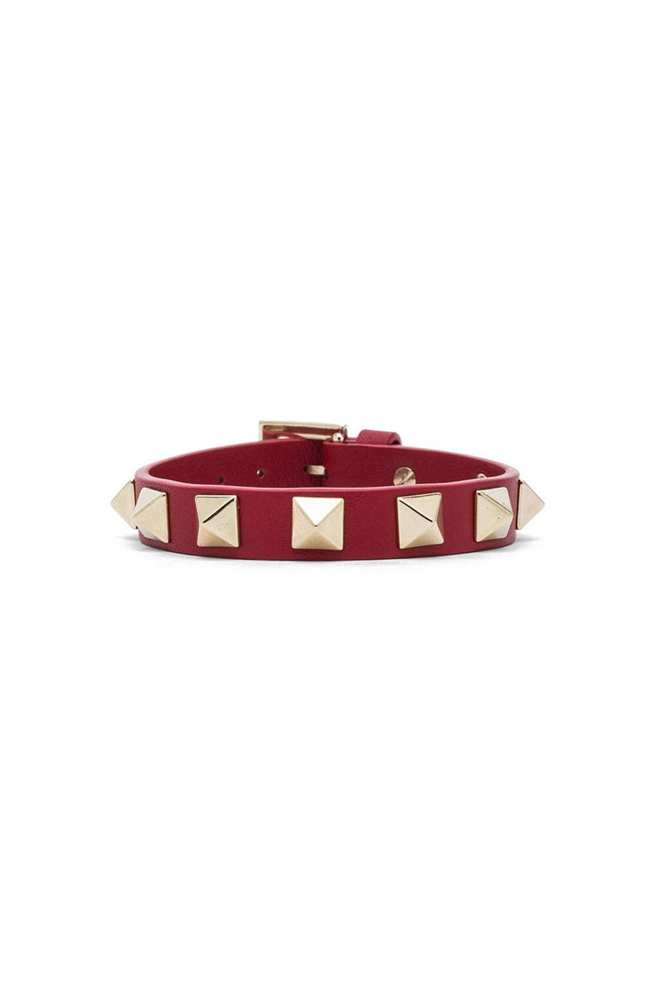 Image 1 of Valentino Small Rockstud Calfskin Bracelet in Red