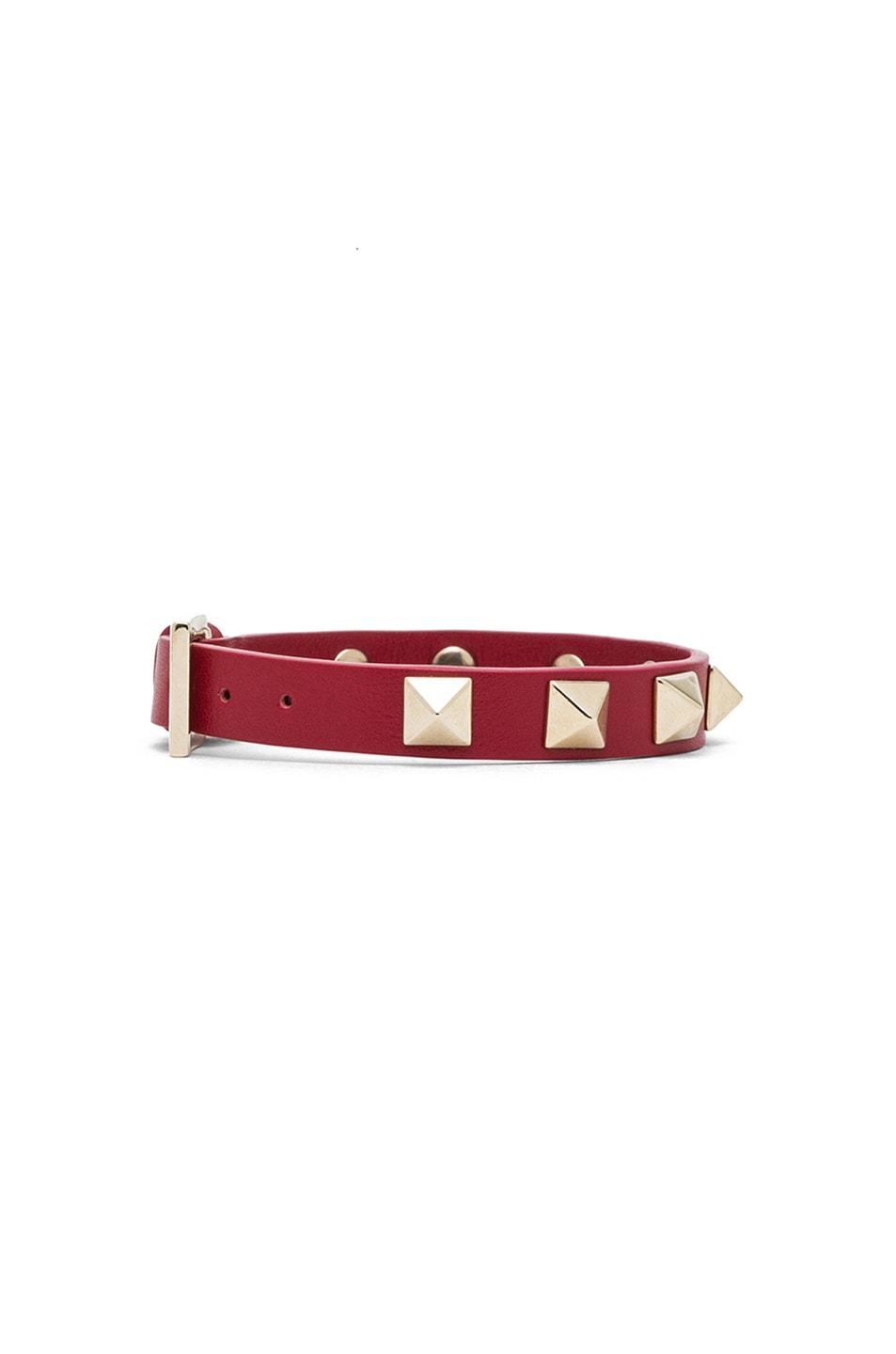 Image 2 of Valentino Small Rockstud Calfskin Bracelet in Red