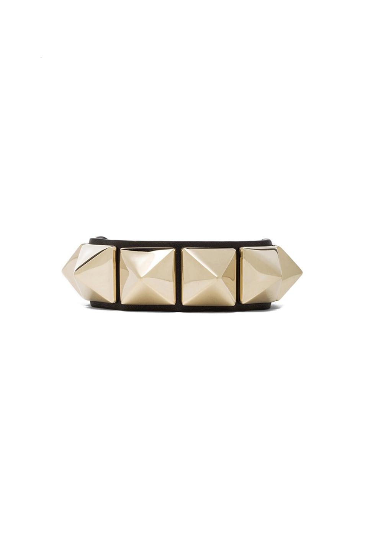 Image 1 of Valentino Medium Rockstud Calfskin Bracelet in Black