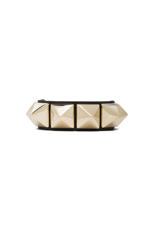 Image 1 of Valentino Garavani Medium Rockstud Calfskin Bracelet in Black