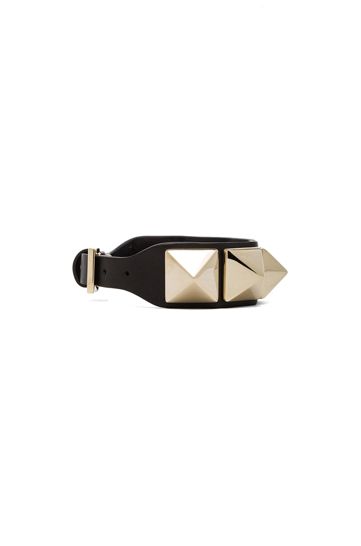 Image 2 of Valentino Medium Rockstud Calfskin Bracelet in Black