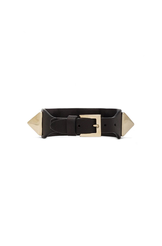 Image 3 of Valentino Medium Rockstud Calfskin Bracelet in Black