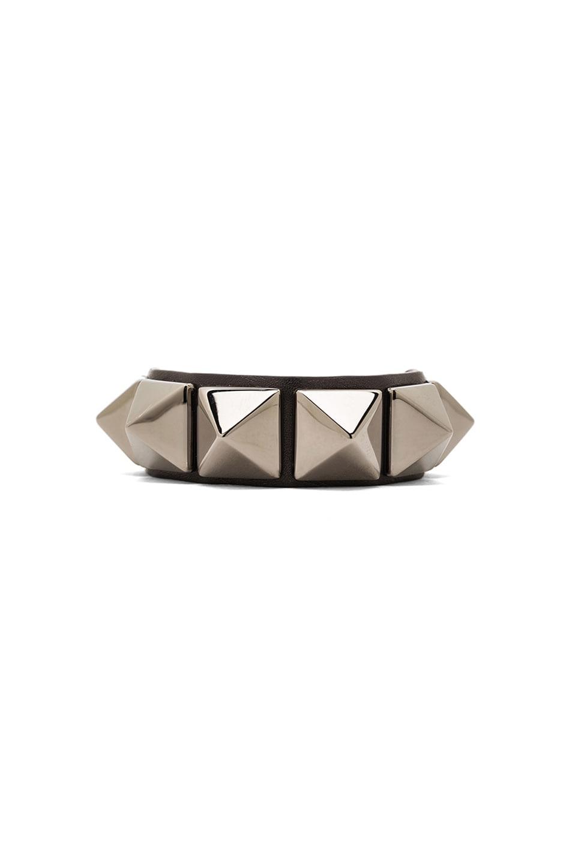 Image 1 of Valentino Medium Rockstud Calfskin Bracelet in Noir