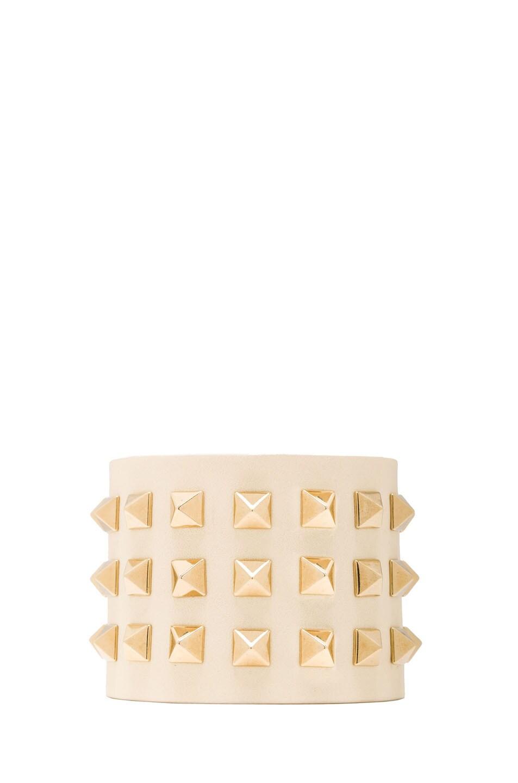 Image 1 of Valentino Large Rockstud Calfskin Bracelet in Light Ivory