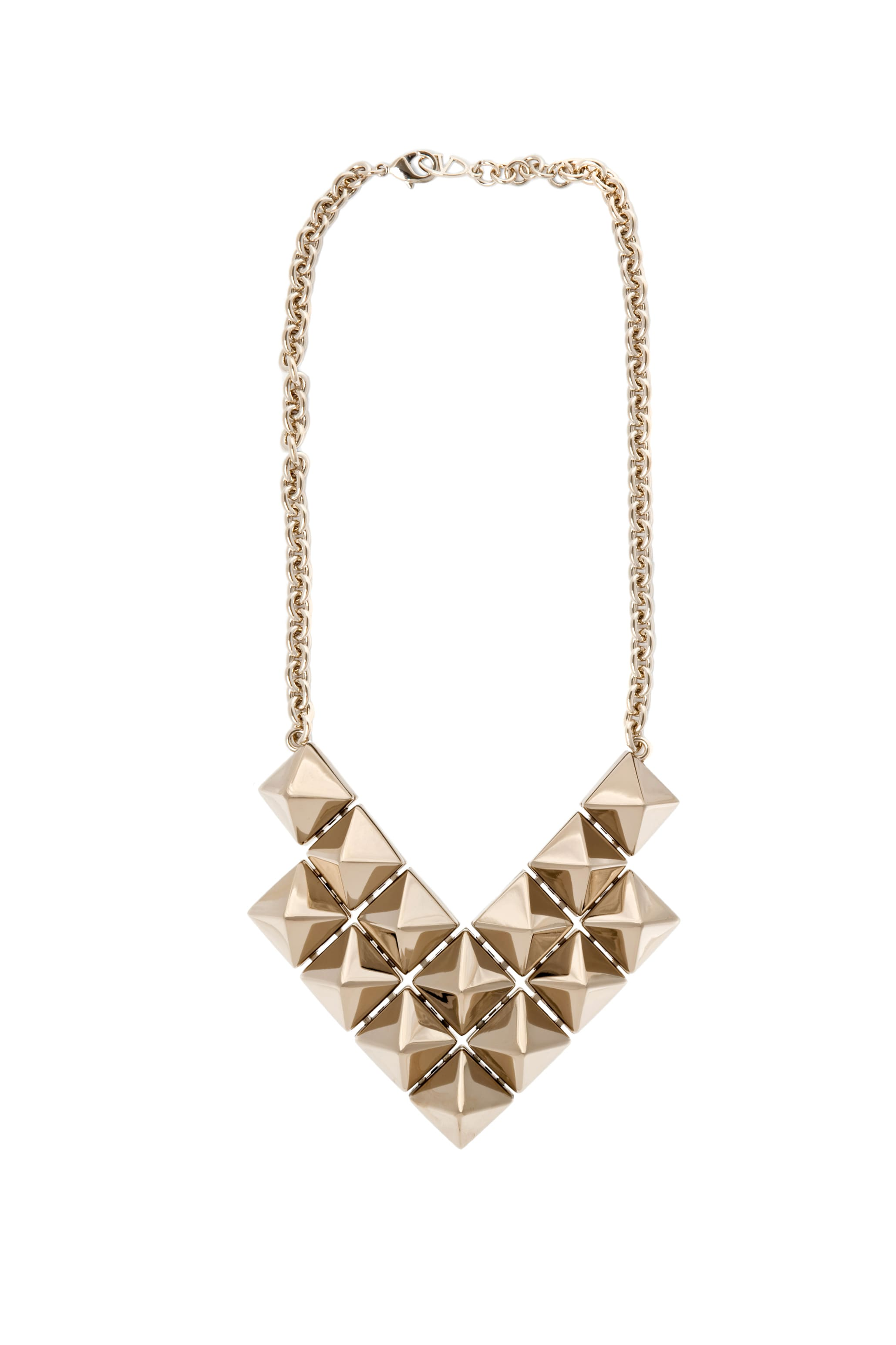 Image 1 of Valentino Large Double Threaded Black Pyramid Necklace in Gold