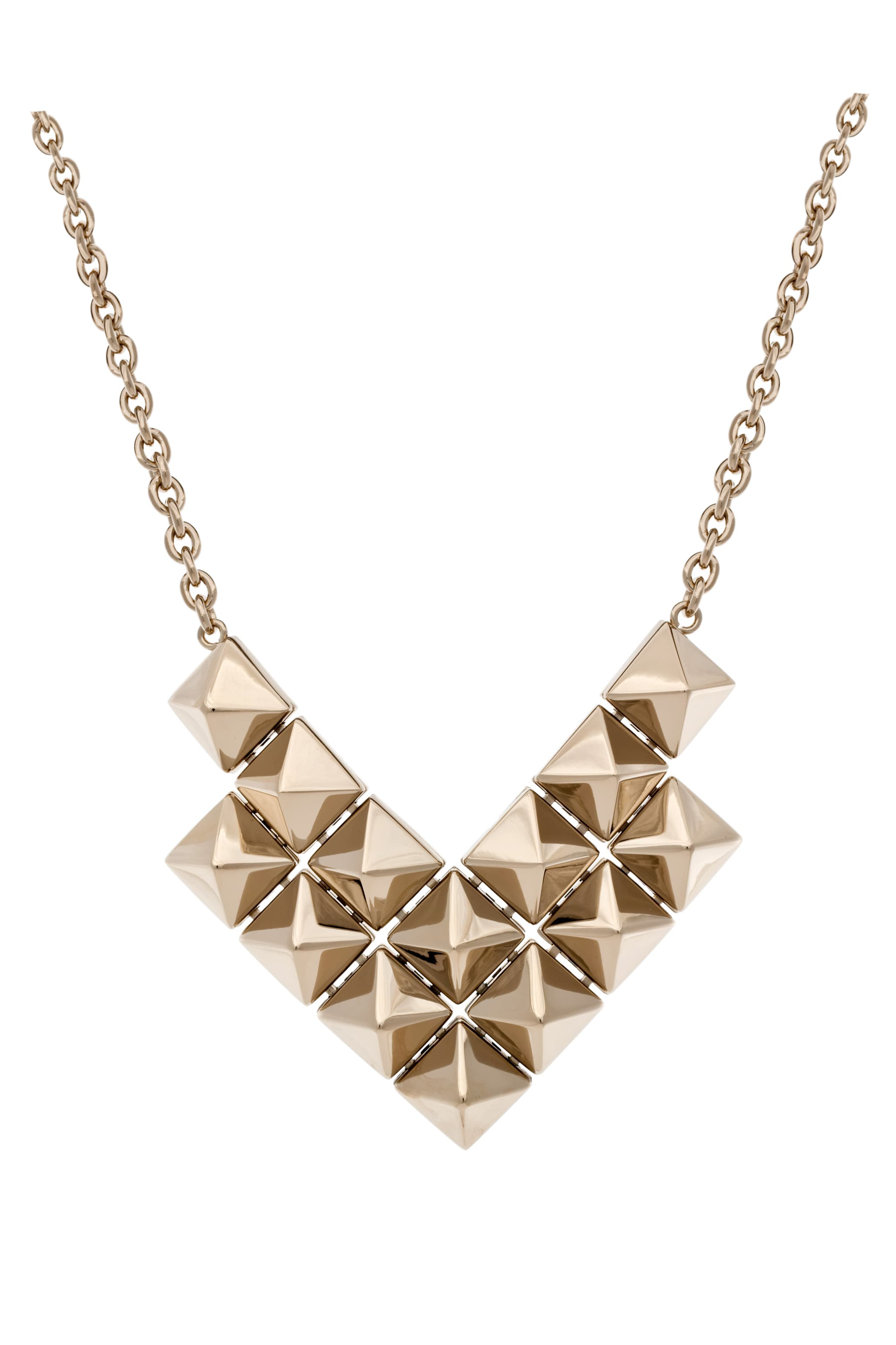 Image 2 of Valentino Large Double Threaded Black Pyramid Necklace in Gold