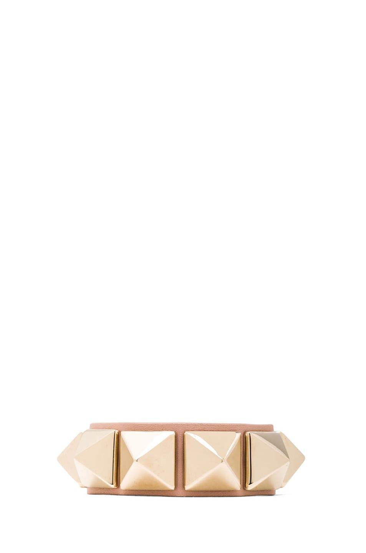 Image 1 of Valentino Medium Rockstud Calfskin Bracelet in Waxy Rose