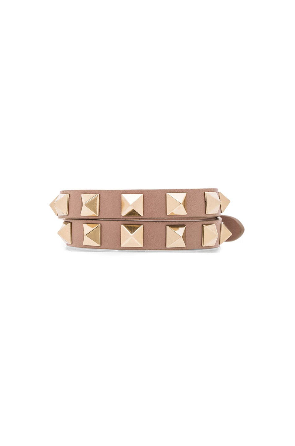 Image 1 of Valentino Rockstud Double Wrap Bracelet in Poudre