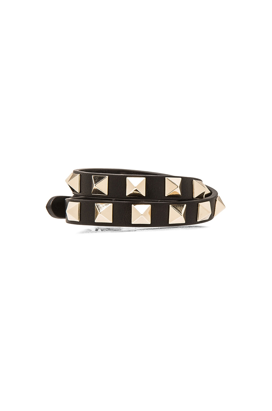 Image 1 of Valentino Rockstud Double Wrap Bracelet in Black