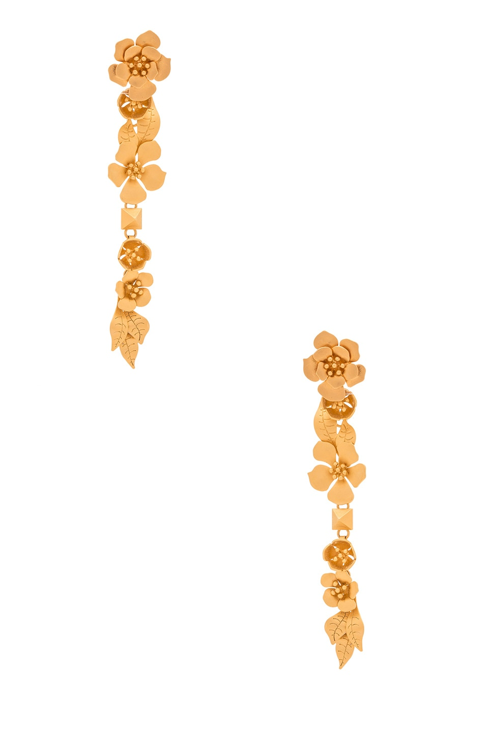 Image 1 of Valentino Garavani Garden Party Earrings in Matte Gold