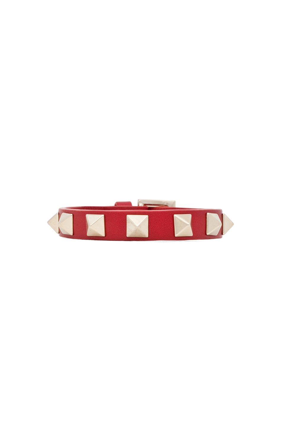 Image 1 of Valentino Small Rockstud Bracelet in Rosso