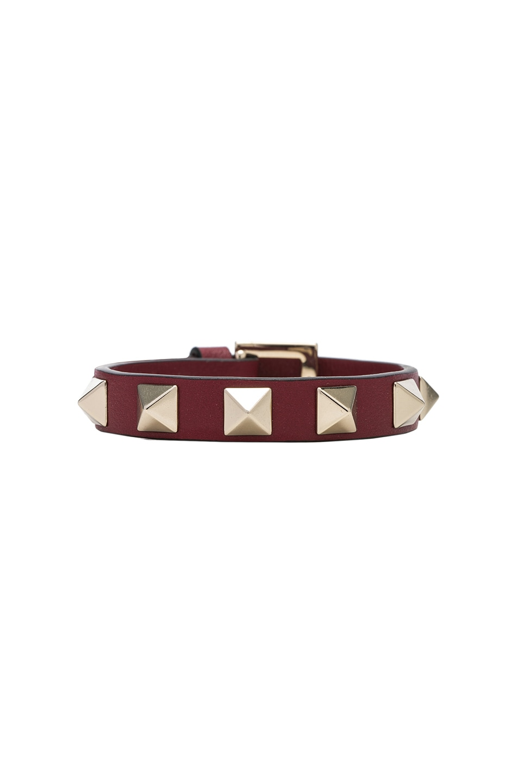 Image 1 of Valentino Rockstud Bracelet in Burgundy