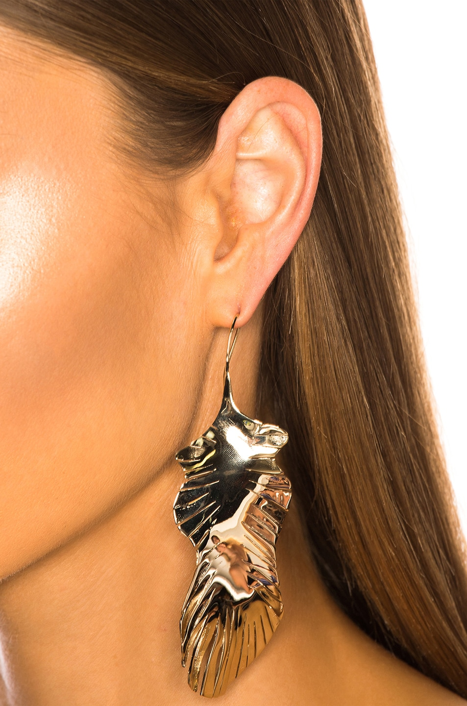 Image 4 of Valentino Cult Leaf Earrings in Platinum