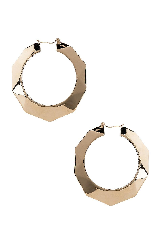 Image 1 of Valentino Logo Hoop Earrings in Platinum