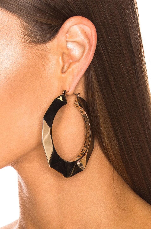 Image 2 of Valentino Logo Hoop Earrings in Platinum