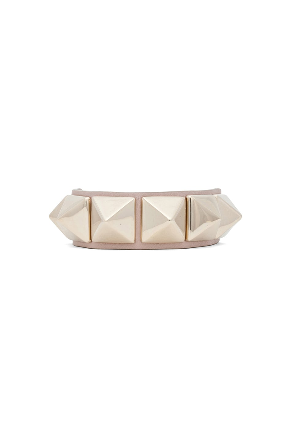 Image 1 of Valentino Medium Rockstud Va Va Voom Leather Bracelet in Poudre