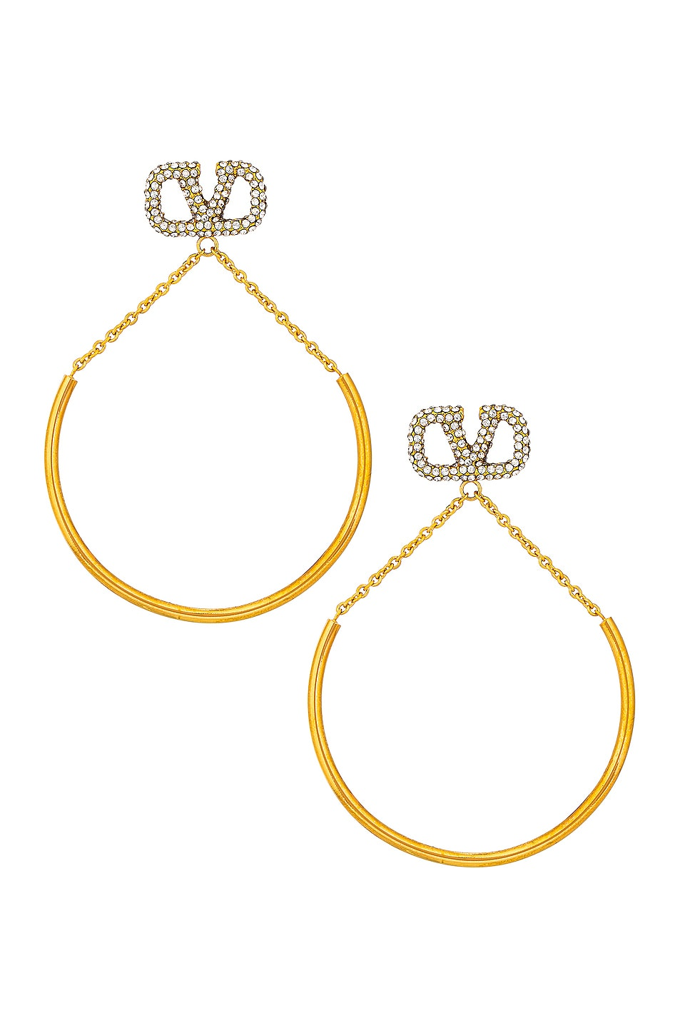 Image 1 of Valentino Garavani VLogo Pendant Earrings in Crystal & Silver Shade