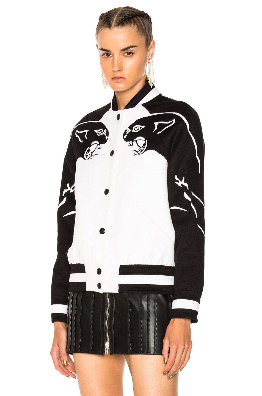 Image 2 of Valentino Printed Sleeve Bomber Jacket in Ivory & Black
