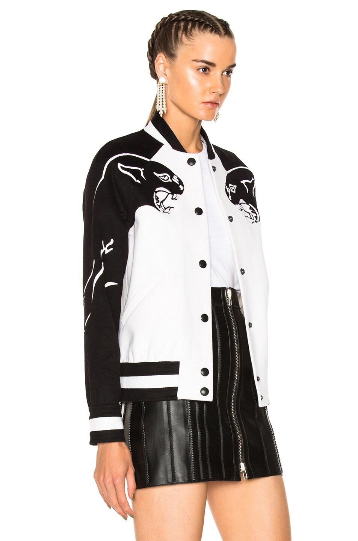 Image 3 of Valentino Printed Sleeve Bomber Jacket in Ivory & Black