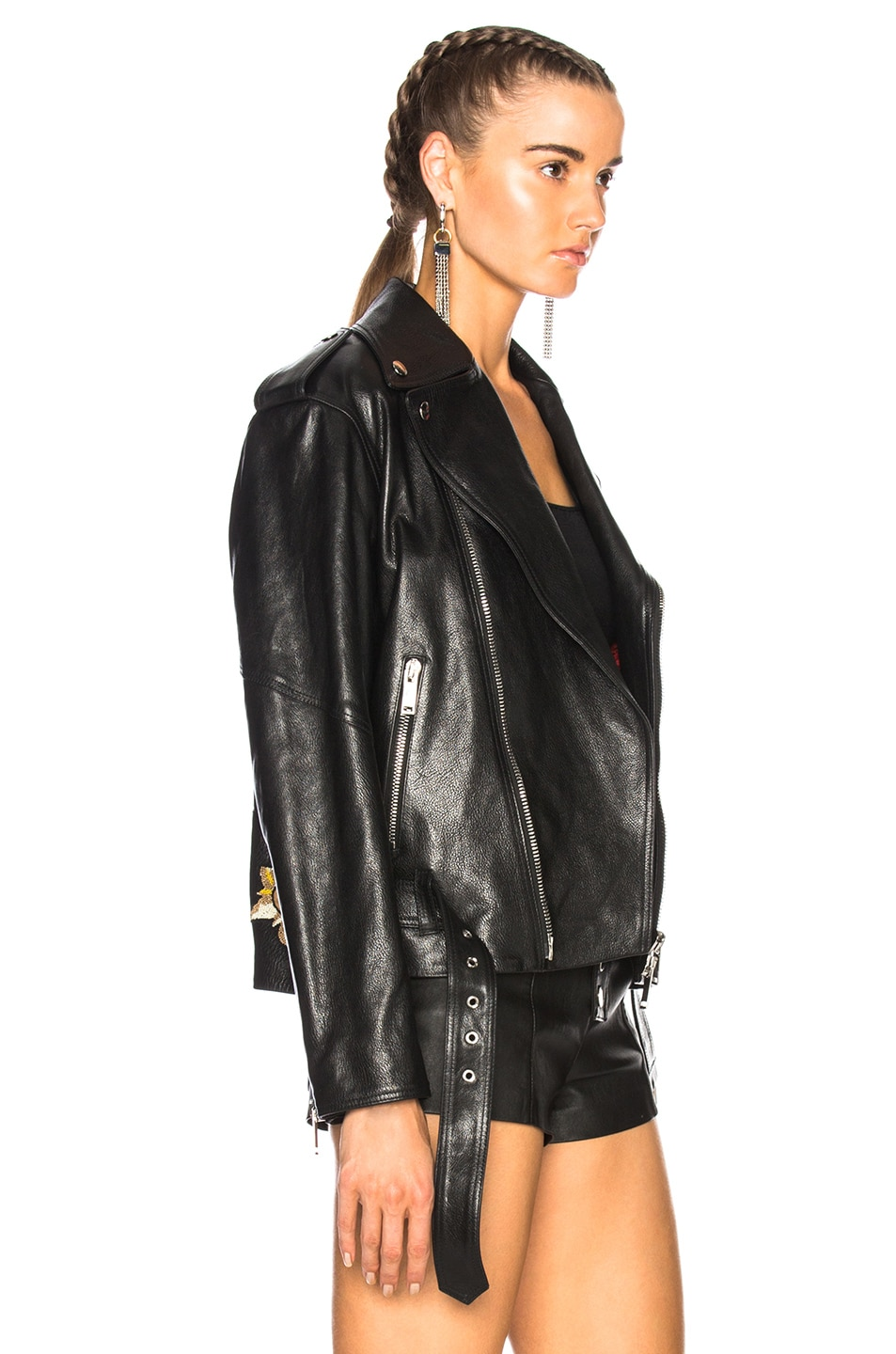 Image 4 of Valentino Tattoo Embroidery Leather Jacket in Black