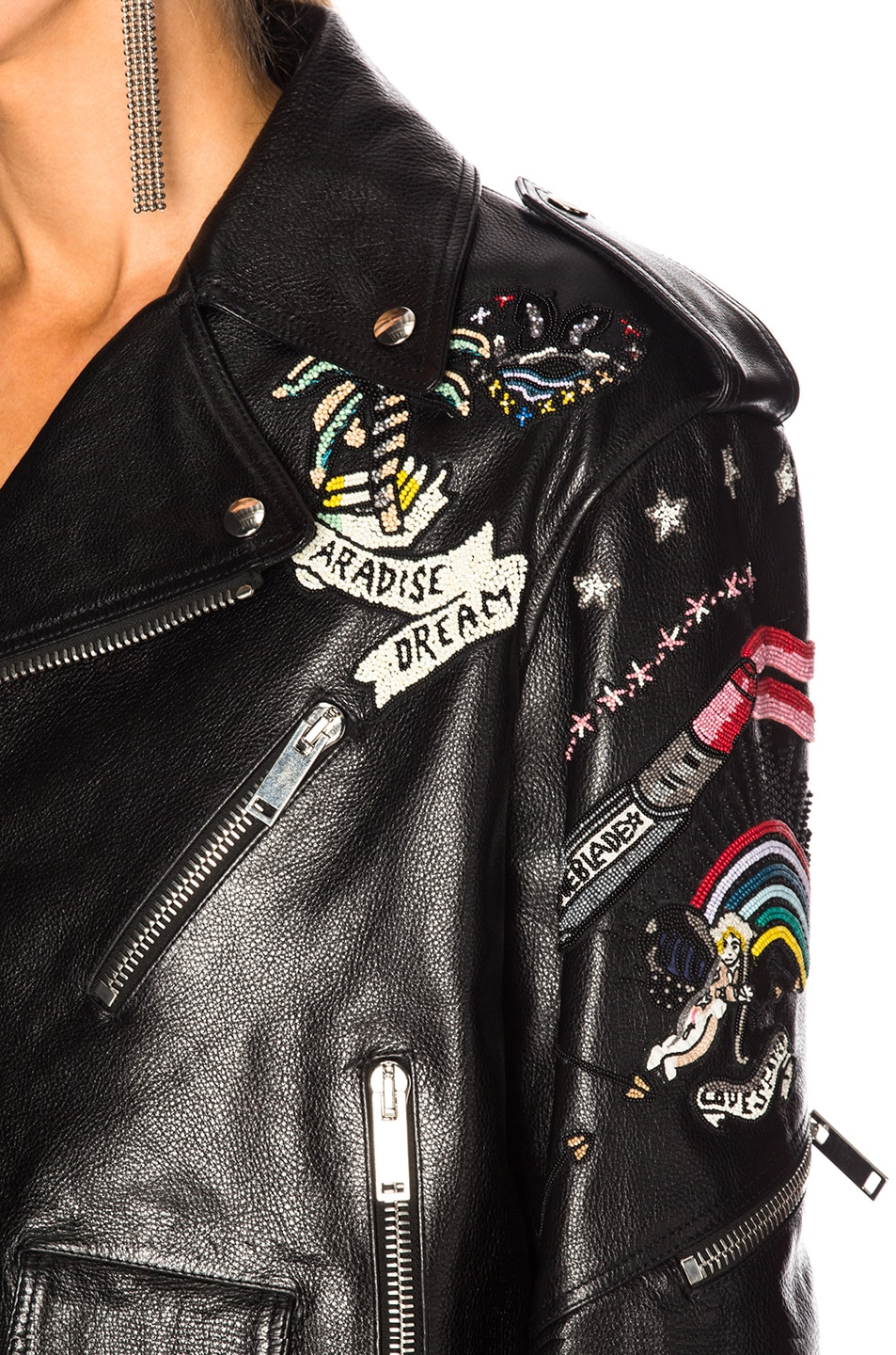 Image 8 of Valentino Tattoo Embroidery Leather Jacket in Black