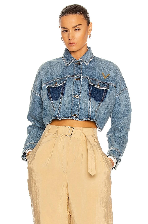 Image 1 of Valentino Cropped Denim Jacket in Medium Blue