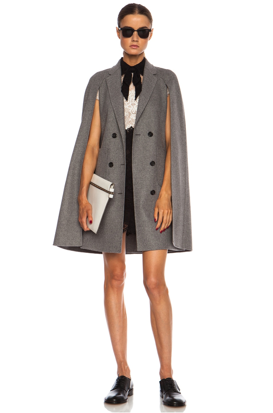 Image 1 of Valentino Mid Length Cape Sleeve Wool-Blend Coat in Grey Melange