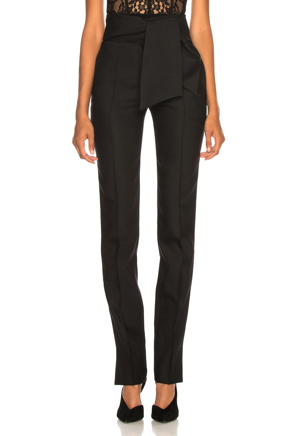 Image 1 of Valentino Oversized Bow Belt Trousers in Black