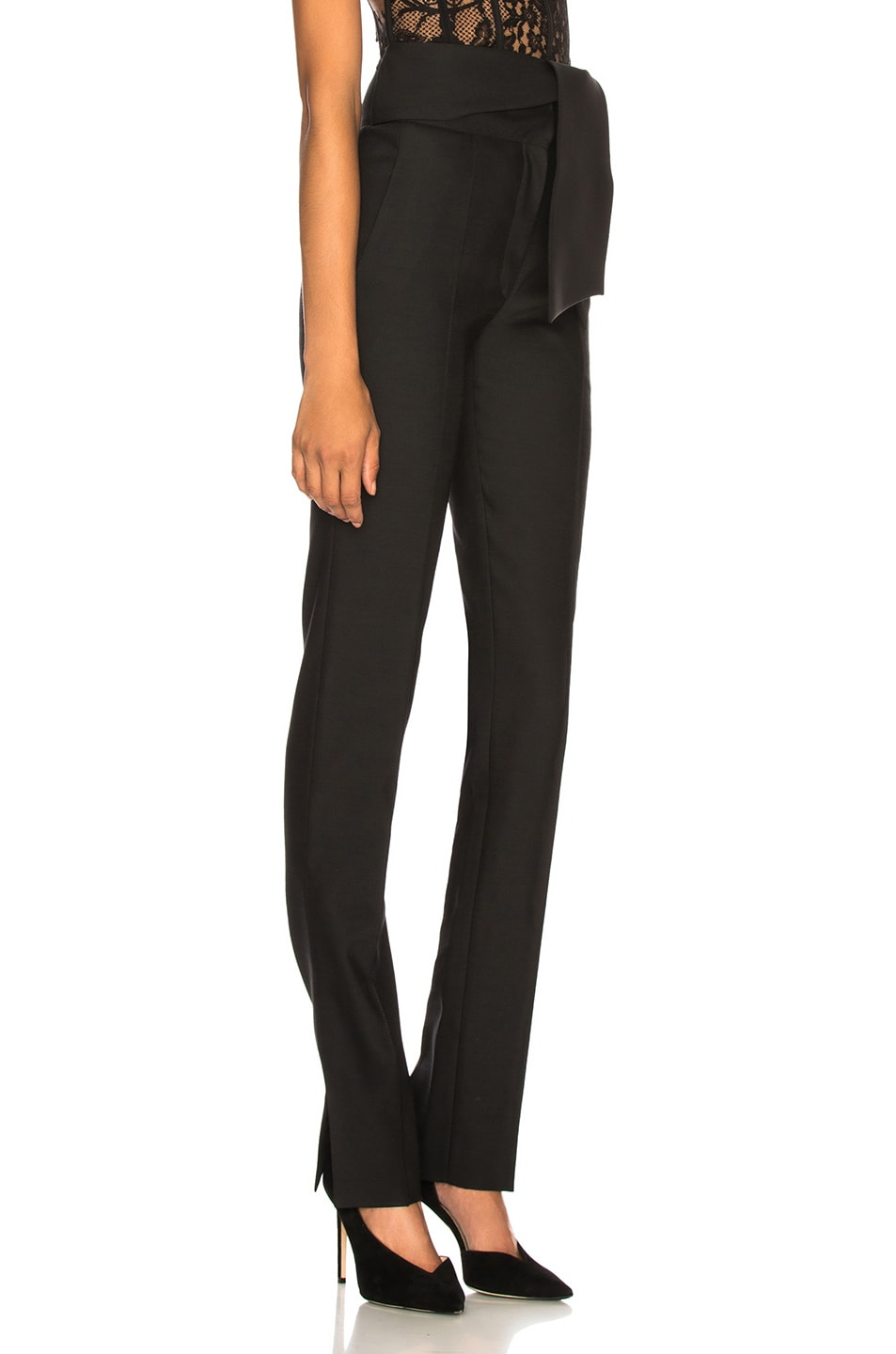 Image 2 of Valentino Oversized Bow Belt Trousers in Black