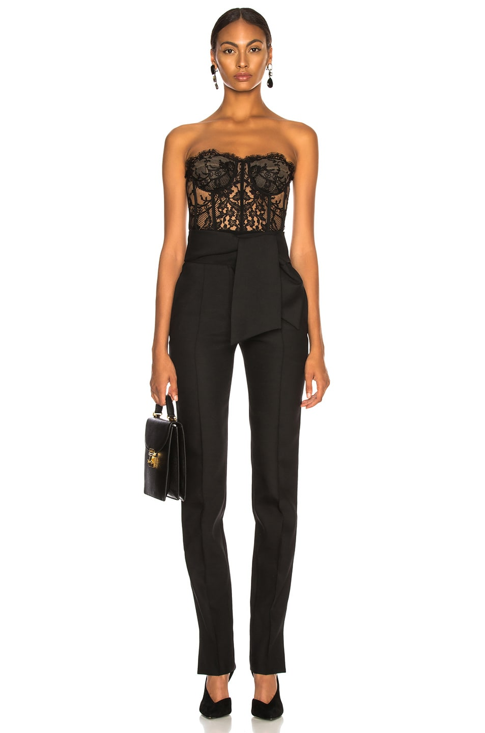 Image 4 of Valentino Oversized Bow Belt Trousers in Black