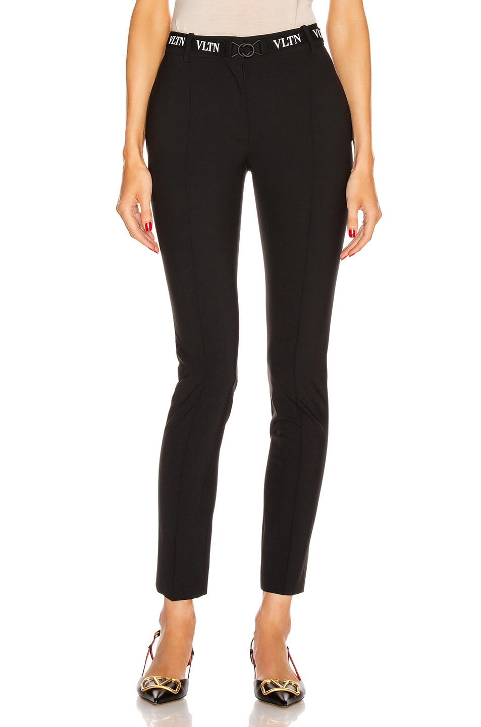 Image 1 of Valentino Logo Belt Tailored Pant in Black