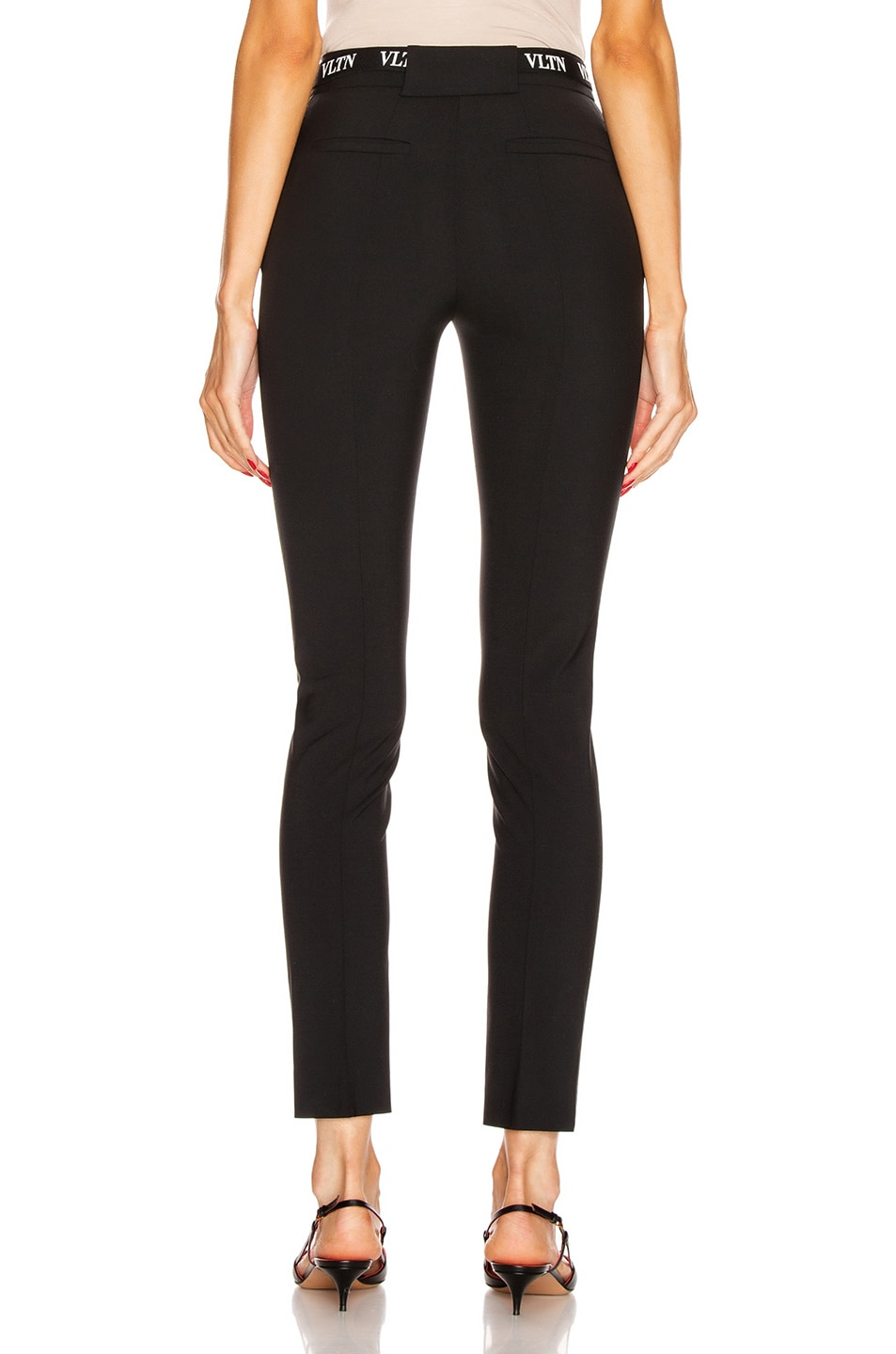 Image 3 of Valentino Logo Belt Tailored Pant in Black