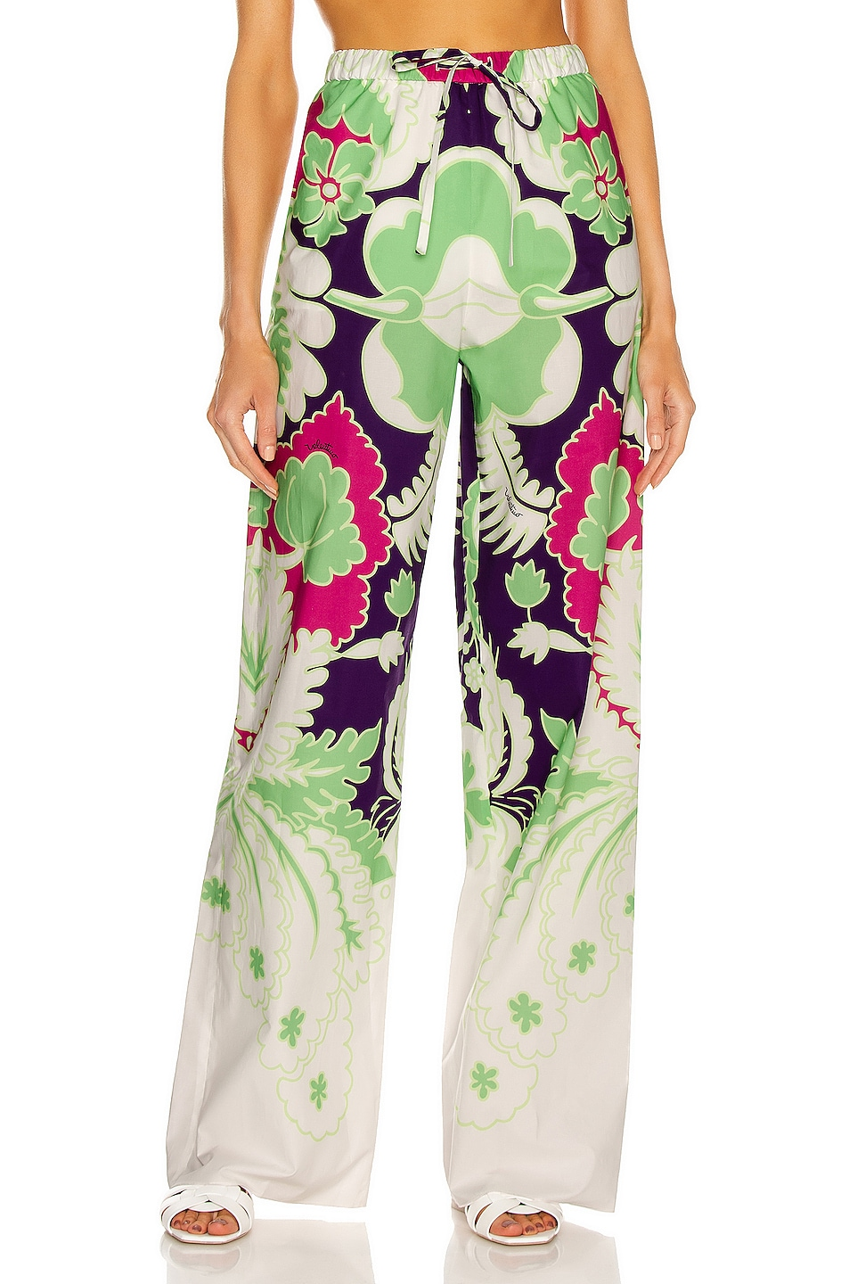 Image 1 of Valentino Floral Wide Leg Pant in Pool & Radiant Orchid
