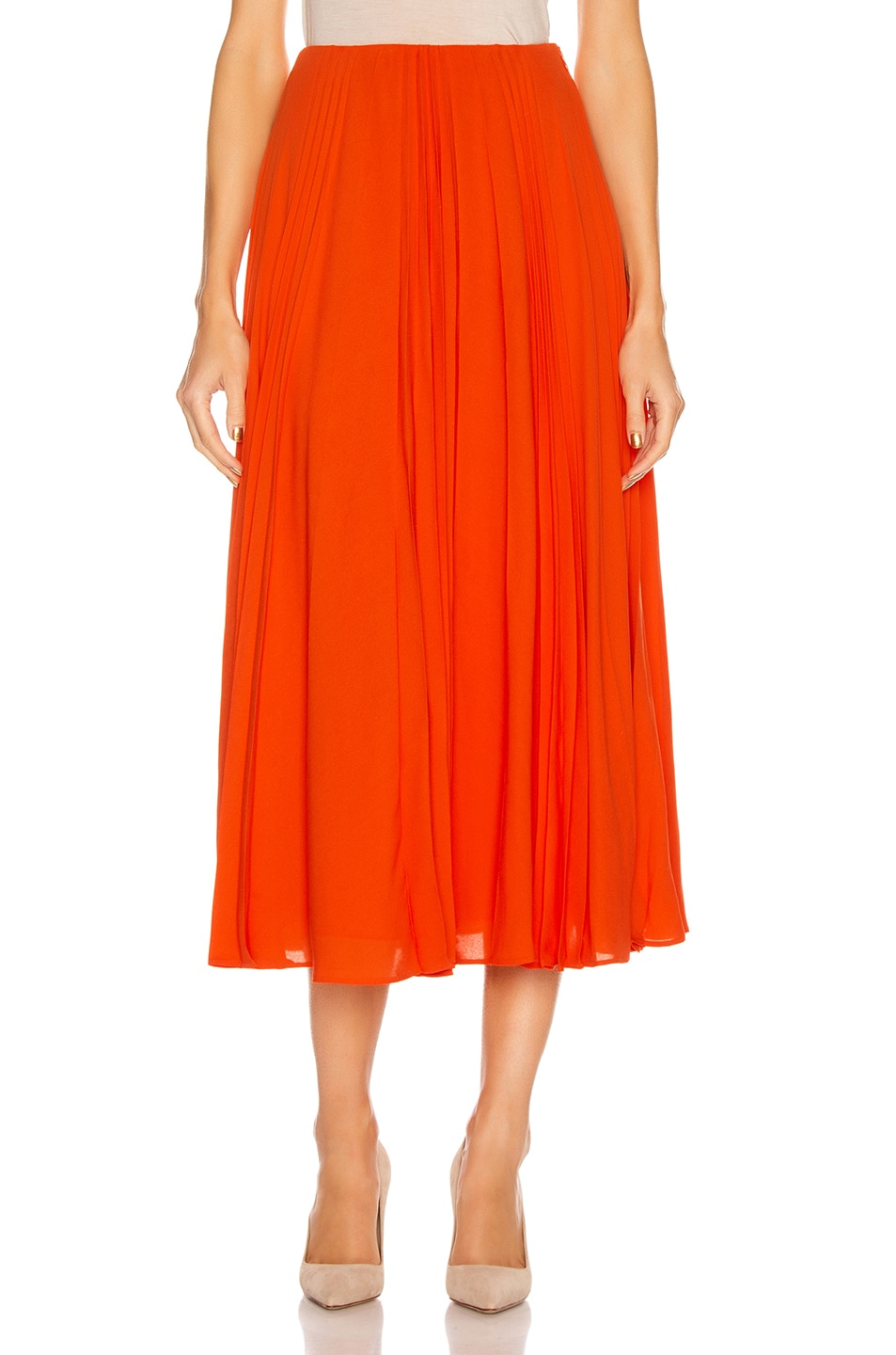 Image 1 of Valentino Pleated Midi Skirt in Cadmium