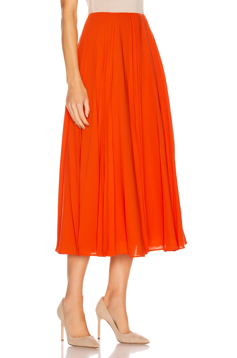 Image 2 of Valentino Pleated Midi Skirt in Cadmium