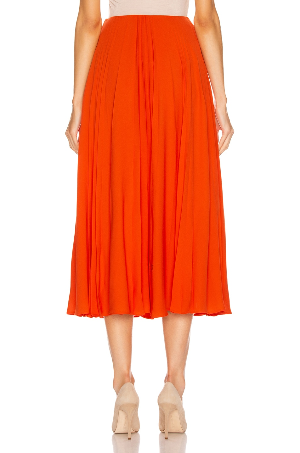 Image 3 of Valentino Pleated Midi Skirt in Cadmium