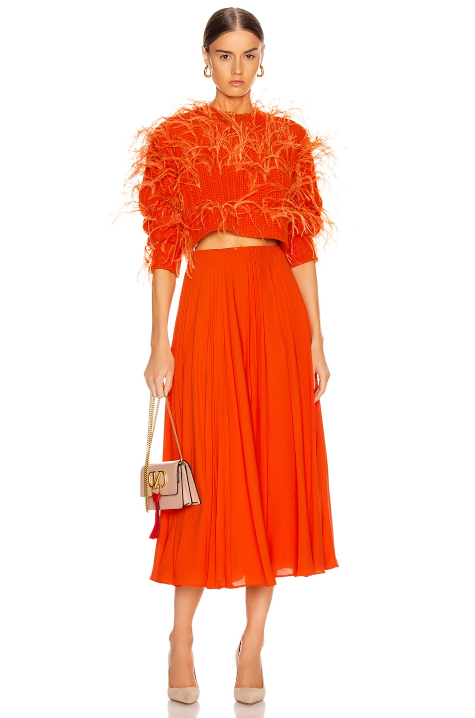 Image 4 of Valentino Pleated Midi Skirt in Cadmium