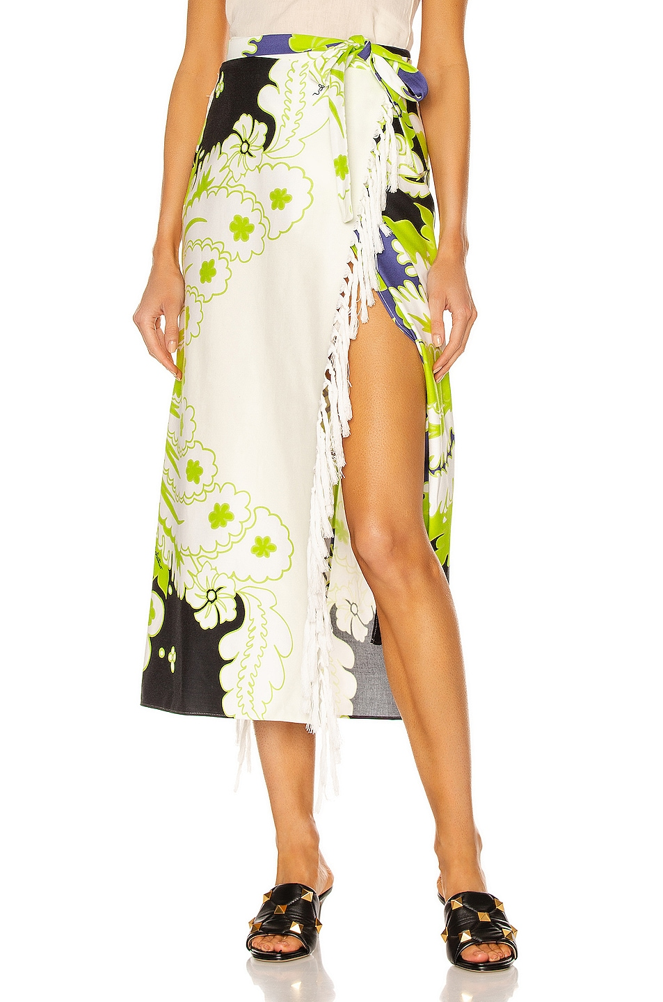 Image 1 of Valentino Garavani Floral Tie Midi Skirt in Nero & Lime & Cloud
