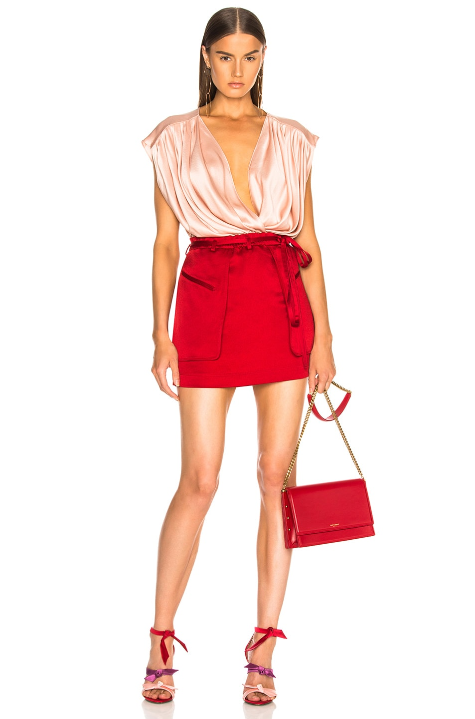 Image 4 of Valentino Cargo Mini Skirt in Berry