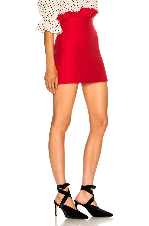 Image 2 of Valentino Ruffle Waist Mini Skirt in Red