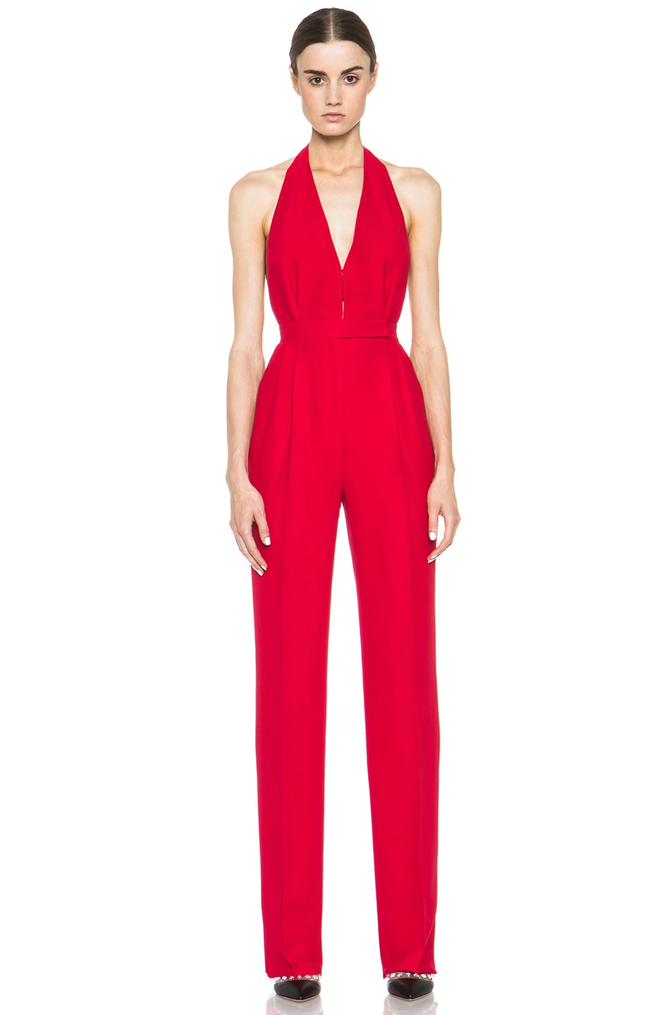 Image 1 of Valentino Halter Jumpsuit in Red