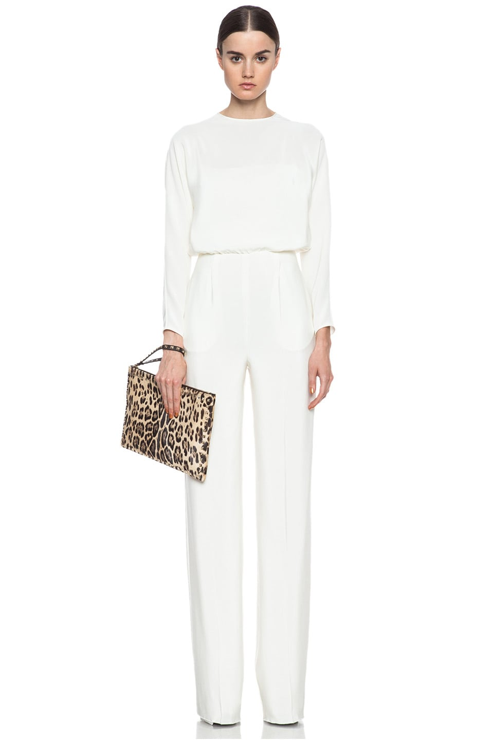 Image 1 of Valentino Open Back Silk Jumpsuit in Ivory