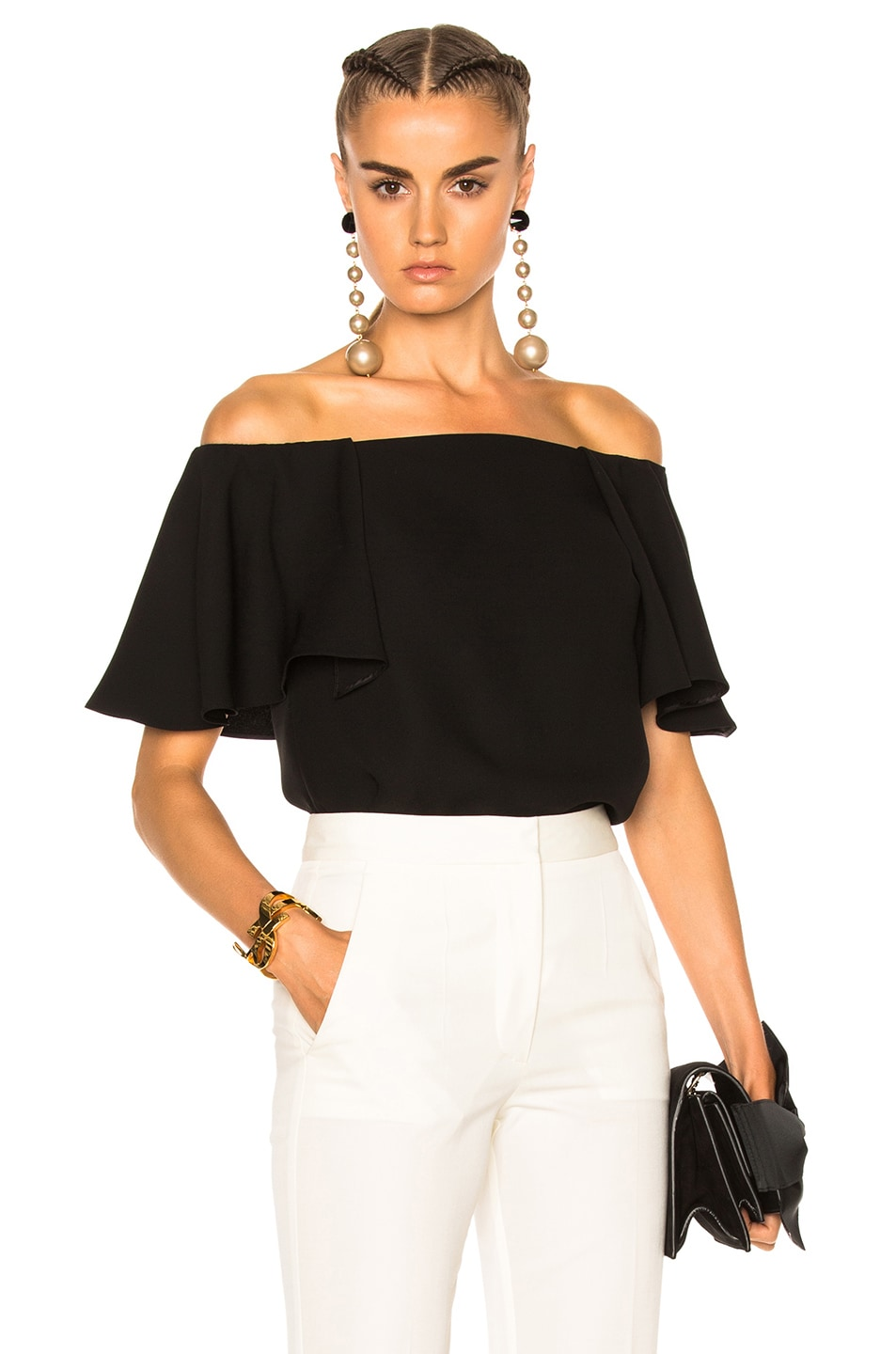 42fe98a7a7f Image 1 of Valentino Off The Shoulder Top in Black