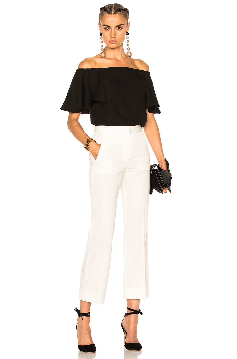 3d26b5c4571 Image 5 of Valentino Off The Shoulder Top in Black