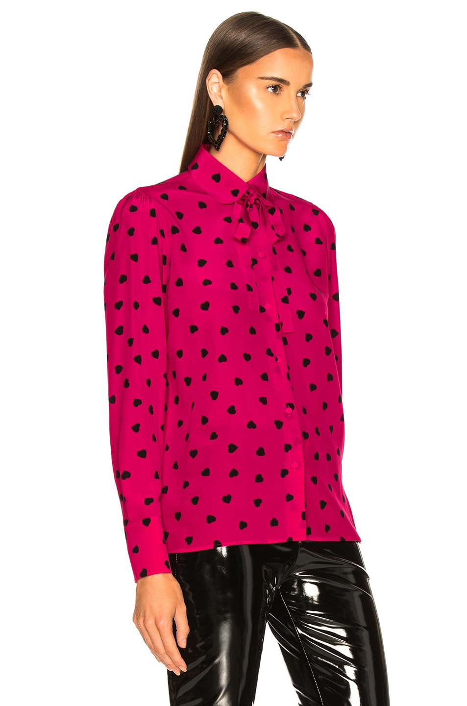 Image 3 of Valentino Crepe de Chine Pretty Hearts Blouse in Disco Pink