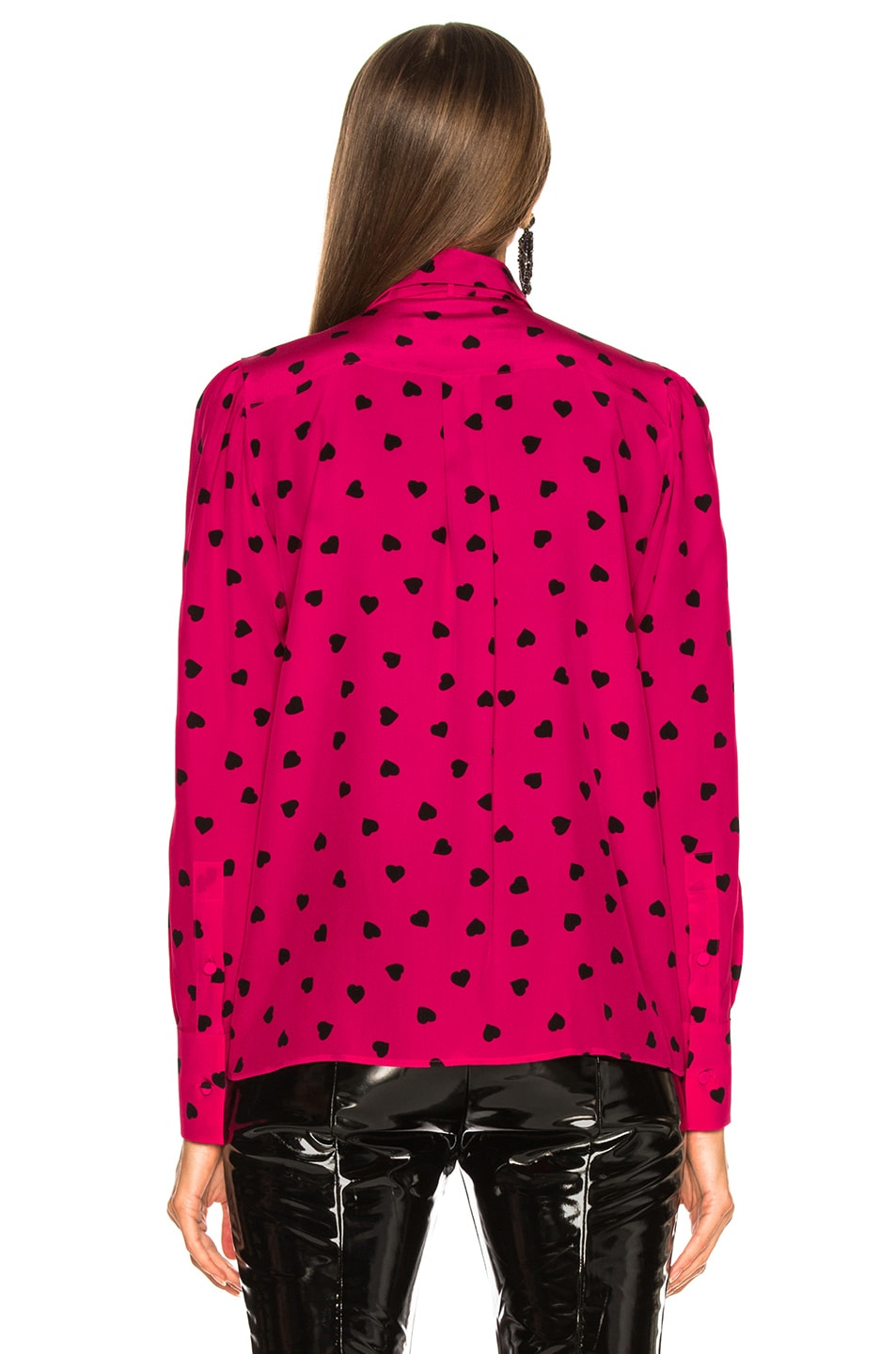Image 4 of Valentino Crepe de Chine Pretty Hearts Blouse in Disco Pink