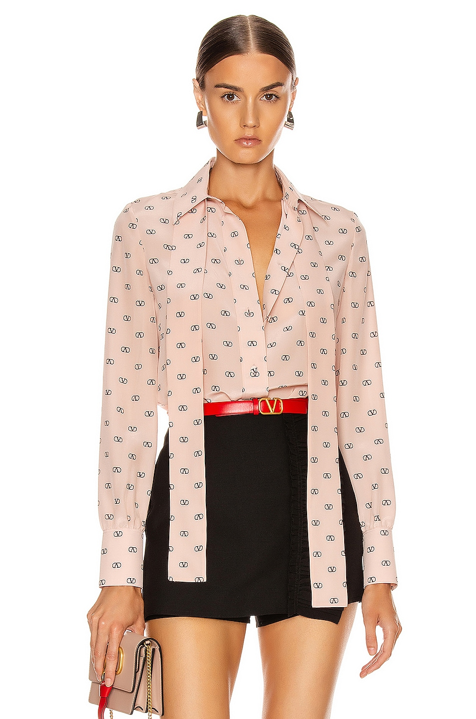 Image 1 of Valentino Logo Button Up in Antique Rose & Black