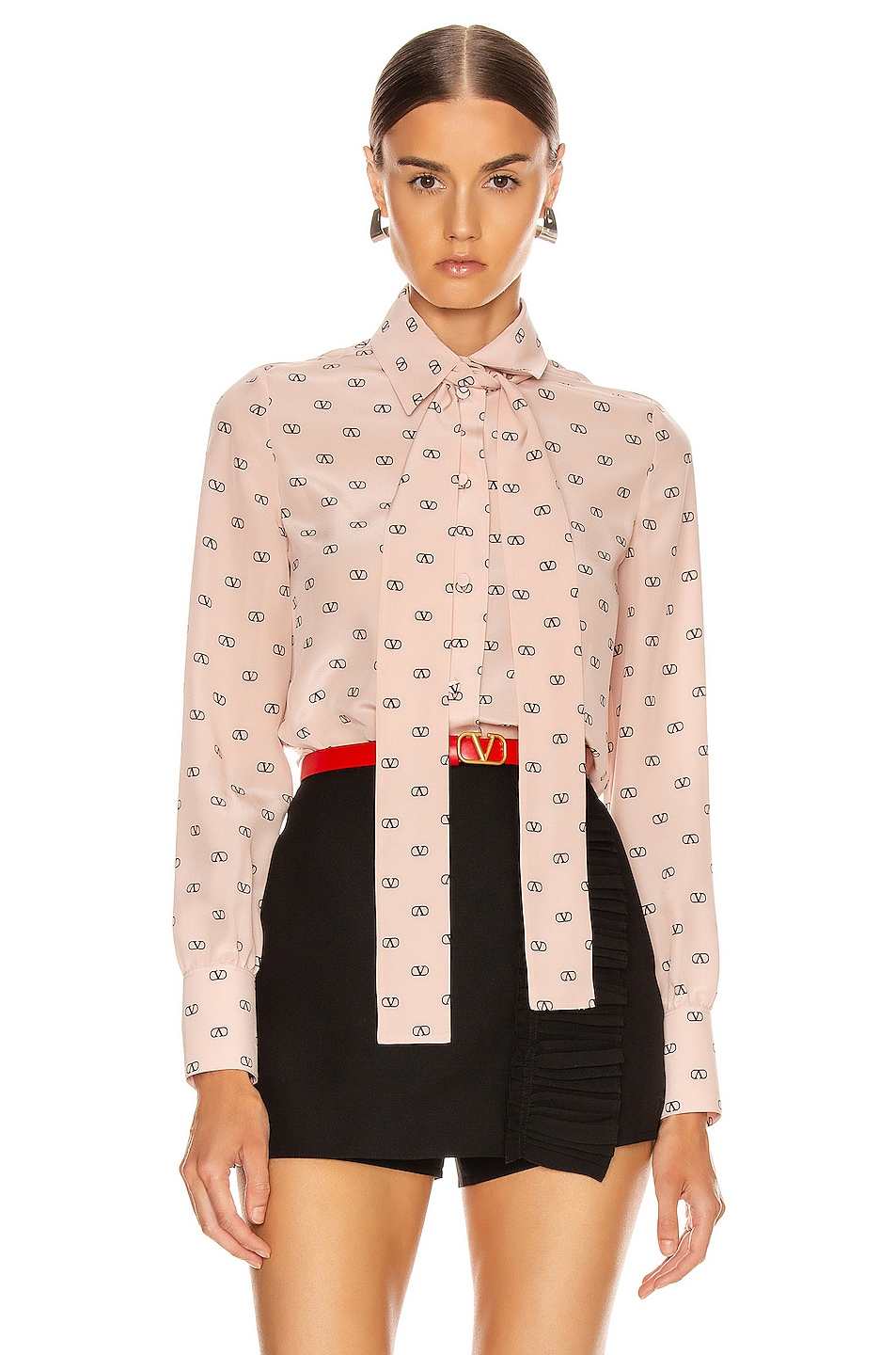 Image 2 of Valentino Logo Button Up in Antique Rose & Black